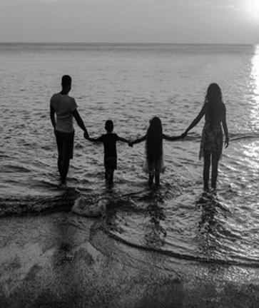 Family near the sea side